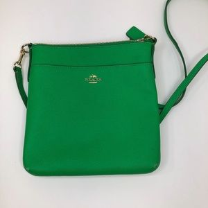 Coach Cross-body Courier Pebbled Textured- Green